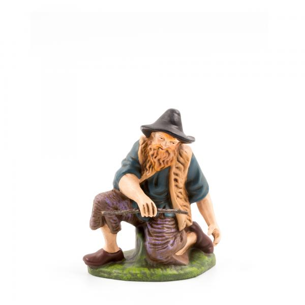 Hirte kniend mit Holz, zu 11cm Krippenfiguren - Original MAROLIN® - Krippenfigur für Ihre Weihnachtskrippe - Made in Germany