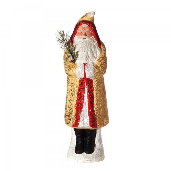 Weihnachtsmann mit Muff auf Sockel, gelb/gold, H=35cm, befüllbar