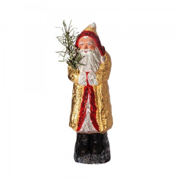 Weihnachtsmann mit Muff auf Sockel, gelb/gold, H=24cm, befüllbar