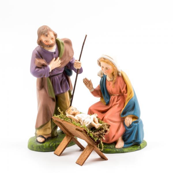 Heilige Familie mit Holzkrippe, 4 Teile, zu 14cm Figuren