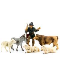 Tiergruppe mit Schäfer, 6-teil. Set, zu 9cm Fig. (Kunststoff)