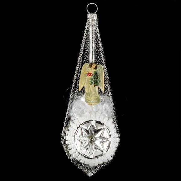 Sternballon mit Engel-Oblaten und Swarowsky-Kristallen, silber