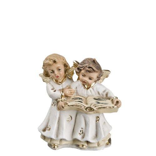 Zwei Engelchen mit Liederbuch (klein), Antikweiß, zu 10 - 11cm Krippenfiguren - Original MAROLIN® - Engel für Ihre Weihnachtsdekoration - Made in Germany
