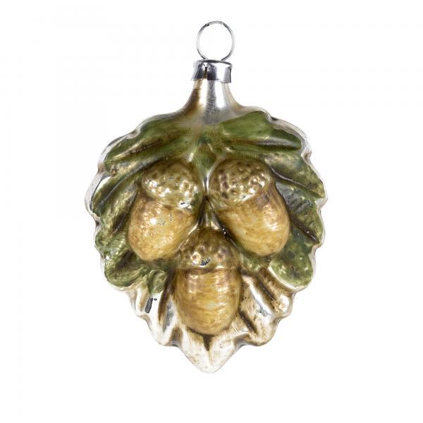Glass Ornament Oak leaf with acorns