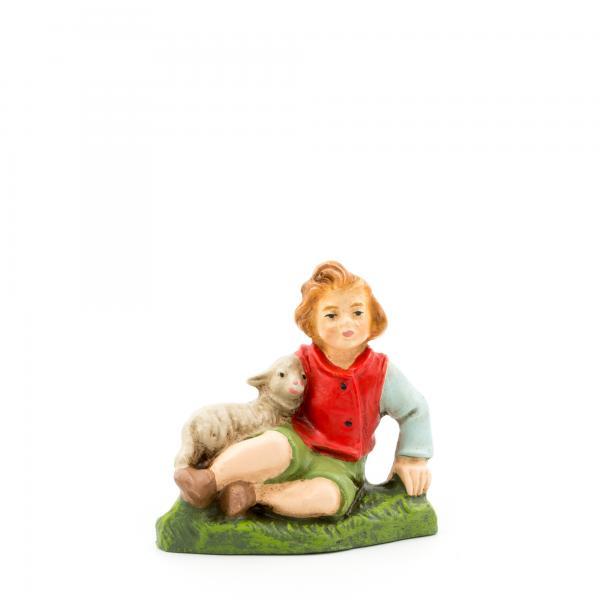 Hirte sitzend mit Schaf, zu 9cm Figuren